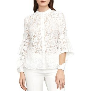 Thelma Lace Overlay Bell Sleeves Button-Down Top